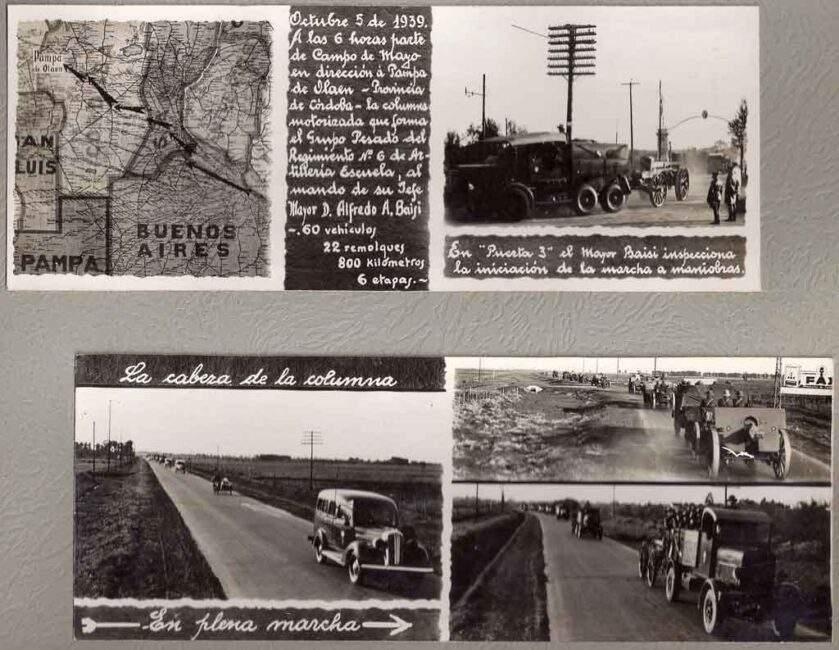 Vistas de la salida hacia las maniobras de entrenamiento, AÑO 1939 pampa de olaen provincia de córdoba, argentina