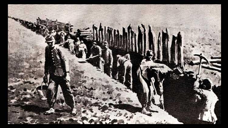 ZANJA DE ALSINA construcción hombres, pala